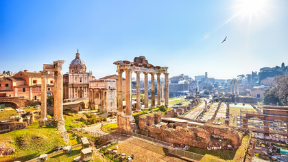 The Roman Forum - Ancient columns and ruins